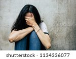 panic attacks young girl in sad ... | Shutterstock . vector #1134336077