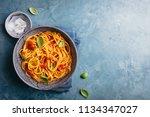 tasty appetizing pasta served... | Shutterstock . vector #1134347027
