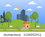 city and nature flat design... | Shutterstock .eps vector #1134352511