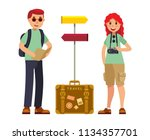 couple travelling flat style... | Shutterstock .eps vector #1134357701