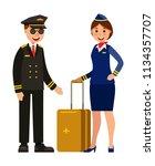 pilot and stewardess uniform... | Shutterstock .eps vector #1134357707