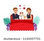 couple on a romantic dinner... | Shutterstock .eps vector #1134357731