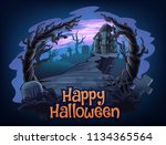horror scene illustration | Shutterstock .eps vector #1134365564