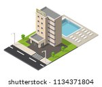 isometric hotel building with... | Shutterstock .eps vector #1134371804