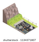 isometric low poly waste... | Shutterstock .eps vector #1134371807