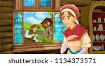 cartoon scene with young woman... | Shutterstock . vector #1134373571