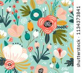 seamless pattern with flowers... | Shutterstock .eps vector #1134373841