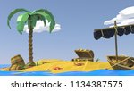 low poly beach. palm  sand  sea ... | Shutterstock . vector #1134387575