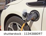electric charger station with... | Shutterstock . vector #1134388097