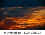 beautiful summer sunset  yellow ... | Shutterstock . vector #1134388124