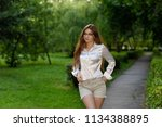good looking young girl with... | Shutterstock . vector #1134388895