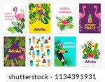 set of card tropical flamingo....   Shutterstock . vector #1134391931