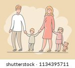 woman and man with children ... | Shutterstock . vector #1134395711