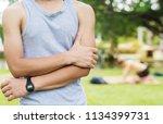 elbow pain  sports injury... | Shutterstock . vector #1134399731
