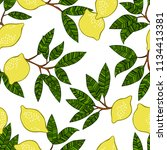 lemons and leaves. green.... | Shutterstock .eps vector #1134413381