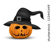 halloween pumpkin realistic...   Shutterstock .eps vector #113441449