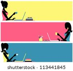 three header designs for female ... | Shutterstock .eps vector #113441845