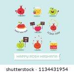 rosh hashanah jewish holiday... | Shutterstock .eps vector #1134431954
