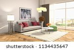 interior of the living room. 3d ... | Shutterstock . vector #1134435647