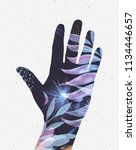 hand silhouette with floral... | Shutterstock . vector #1134446657