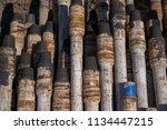 oil drill pipe. rusty drill... | Shutterstock . vector #1134447215