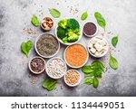 top view of different vegan... | Shutterstock . vector #1134449051