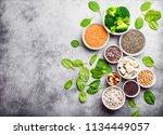 top view of different vegan... | Shutterstock . vector #1134449057