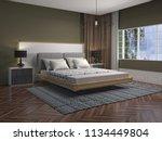 bedroom interior. 3d... | Shutterstock . vector #1134449804