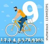 big nine number. white numbers  ... | Shutterstock .eps vector #1134452591