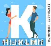 big k letter. white letter with ... | Shutterstock .eps vector #1134452651