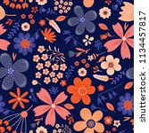 amazing floral vector seamless... | Shutterstock .eps vector #1134457817