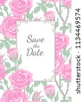 vintage style frame with floral ... | Shutterstock .eps vector #1134469574
