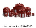 render of a group of gifts - stock photo