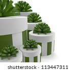 render of a group of green gifts - stock photo
