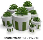 3d render of a group of white gifts - stock photo