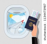 window from inside the airplane.... | Shutterstock .eps vector #1134473987