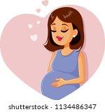 Cute Pregnant Girl Vector...