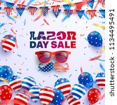 labor day sale poster template... | Shutterstock .eps vector #1134495491