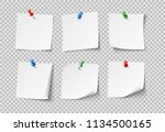note papers. white pin blank... | Shutterstock .eps vector #1134500165