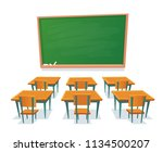 school chalkboard and desks.... | Shutterstock .eps vector #1134500207