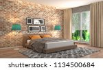 bedroom interior. 3d... | Shutterstock . vector #1134500684