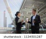 full length of smiling... | Shutterstock . vector #1134501287