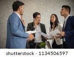 business group meeting... | Shutterstock . vector #1134506597