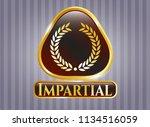 gold badge with laurel wreath... | Shutterstock .eps vector #1134516059