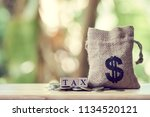 money bags and pay annual...   Shutterstock . vector #1134520121