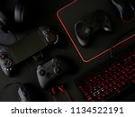 gamer workspace concept  top... | Shutterstock . vector #1134522191