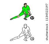 goal keeper in green jersey... | Shutterstock .eps vector #1134522197