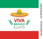 viva mexico independence day of ... | Shutterstock .eps vector #1134522347
