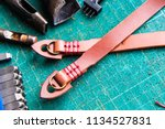 genuine vegetble tanned leather ... | Shutterstock . vector #1134527831