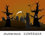 grim reaper in cemetery and... | Shutterstock .eps vector #1134531614